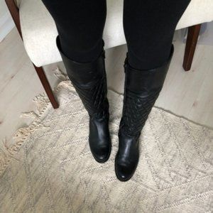 Steve Madden Black Quilted Reggo Leather Boots